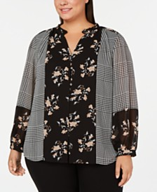 Calvin Klein Plus Size Mixed-Print Ruffle-Neck Top