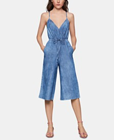 BCBGeneration Cotton Ladder-Back Denim Jumpsuit