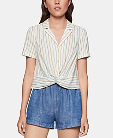 Cotton Striped Twist-Front Shirt