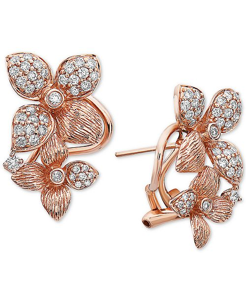 EFFY Collection EFFY® Diamond Floral Drop Earrings (5/8 ct. t.w.) in 14k Rose Gold