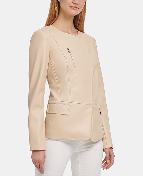 DKNY Faux-Leather Collarless Blazer