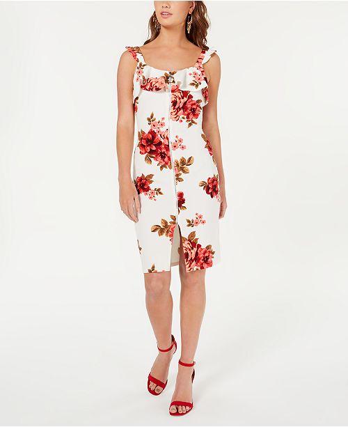 Crave Fame Juniors' Ruffled Zip-Front Dress