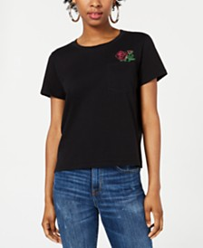 Rebellious One Juniors' Cotton Rose Pocket T-Shirt