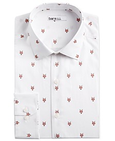 Men's Slim-Fit Stretch Fox Head-Print Dress Shirt, Created for Macy's