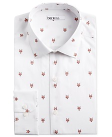 Bar III Men's Slim-Fit Stretch Fox Head-Print Dress Shirt, Created for Macy's
