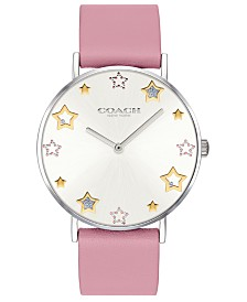 COACH Women's Perry Blossom Leather Strap Watch 36mm, Created For Macy's