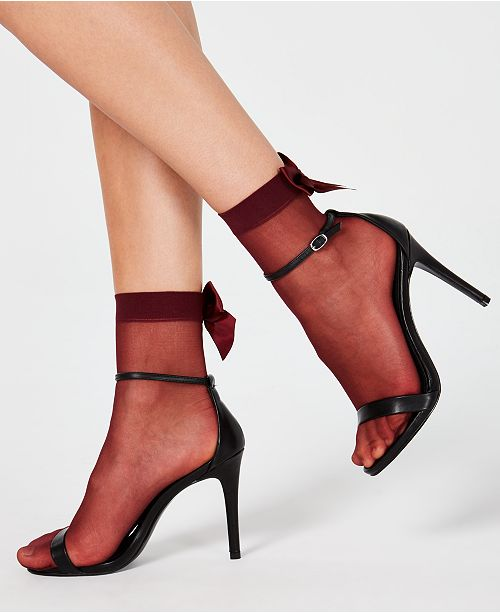 INC International Concepts INC Sheer Bow-Back Anklet Fashion Socks, Created for Macy's
