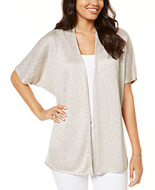 I.N.C. Petite Sequinned Drape-Front Cozy Cardigan, Created for Macy's