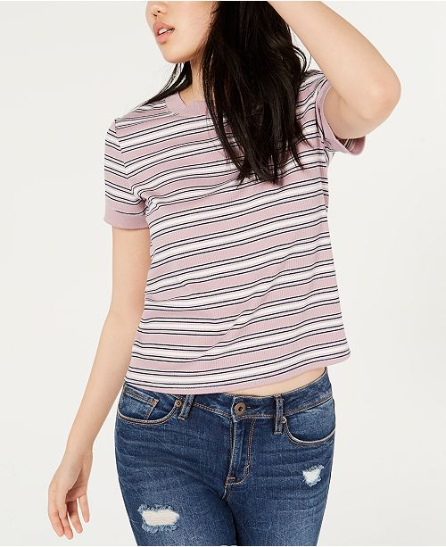 Hippie Rose Juniors' Ribbed-Knit Ringer Top