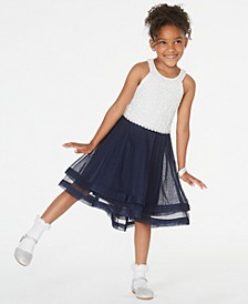 Toddler Girls Contrast Glitter Lace Dress