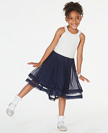 Speechless Little Girls Contrast Glitter Lace Dress