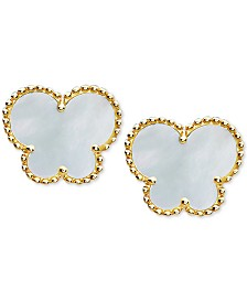 EFFY® Mother-of-Pearl Butterfly Stud Earrings in 14k Gold