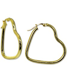 Giani Bernini Heart Hoop Earrings in 18k Gold-Plate Over Sterling Silver, Created for Macy's