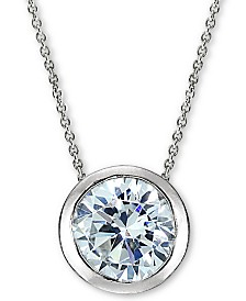 "Giani Bernini Sterling Silver Cubic Zirconia Bezel 18"" Pendant Necklace, Created for Macy's"