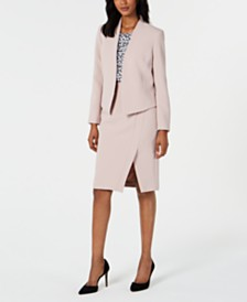 Nine West Crepe Jacket, Skirt & Printed Blouse