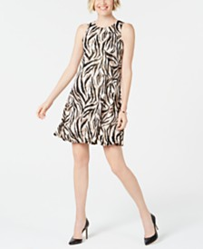 Kasper Petite Animal-Print Swing Dress