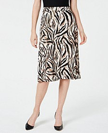 Petite Animal-Print A-Line Skirt