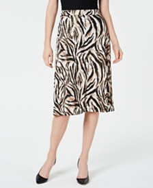 Kasper Petite Animal-Print A-Line Skirt