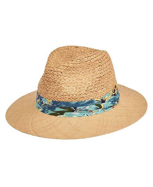 San Diego Hat Company San Diego Hat Men's Raffia Braid with Bao Straw Brim Fold Band Fedora