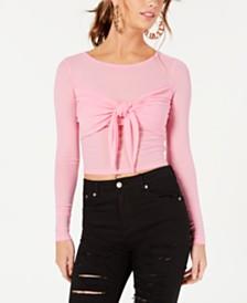 Material Girl Juniors' Sheer Tie-Front Crop Top, Created for Macy's