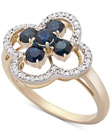 Sapphire (3/4 ct. t.w.) & Diamond (1/10 ct. t.w.) Statement Ring in 14k Gold