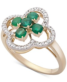 Emerald (5/8 ct. t.w.) & Diamond (1/10 ct. t.w.) Clover Ring in 14k Gold
