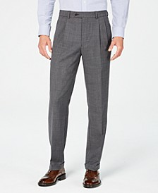Men's Classic-Fit UltraFlex Stretch Gray Sharkskin Pleated Suit Pants