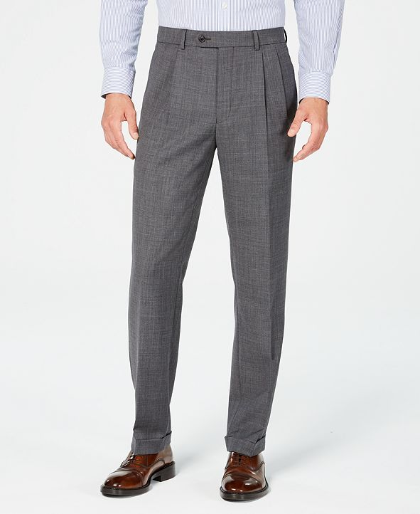 Lauren Ralph Lauren Men's Classic-Fit UltraFlex Stretch Gray Sharkskin Pleated Suit Pants