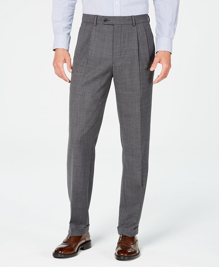 Lauren Ralph Lauren - Men's Classic-Fit UltraFlex Stretch Gray Sharkskin Pleated Suit Pants