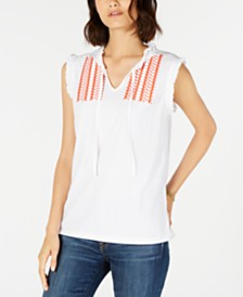 Tommy Hilfiger Embroidered Tie-Neck Tank Top, Created for Macy's
