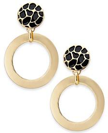 Gold-Tone Animal Print Drop Hoop Earrings, Created for Macy's