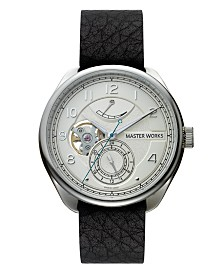 Master Works Men's Automatic Black Genuine Leather Strap Watch, 43mm
