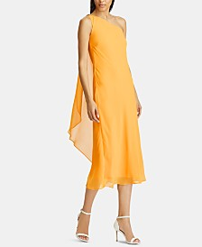 Lauren Ralph Lauren Rhinestone-Pin Single-Shoulder Chiffon Dress