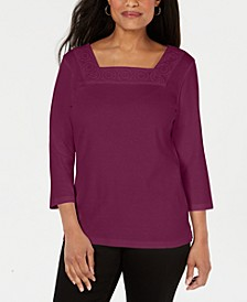 Crochet Square-Neck Top, Created for Macy's