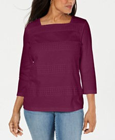 Karen Scott Petite Lace Square-Neck 3/4-Sleeve Top