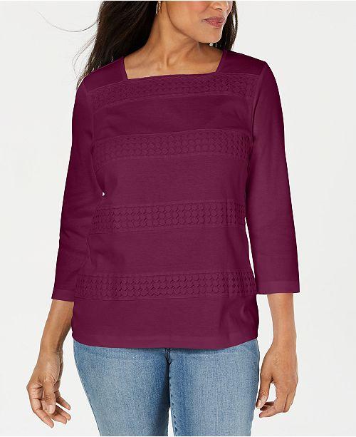 Karen Scott Petite Lace Square-Neck 3/4-Sleeve Top