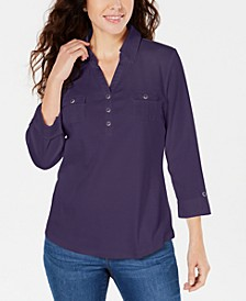 Cotton Johnny-Collar Utility Shirt, Created for Macy's