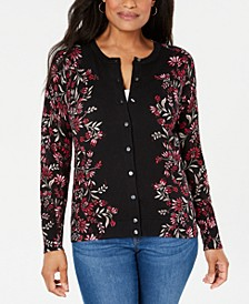 Petite Tapestry-Print Cardigan, Created for Macy's