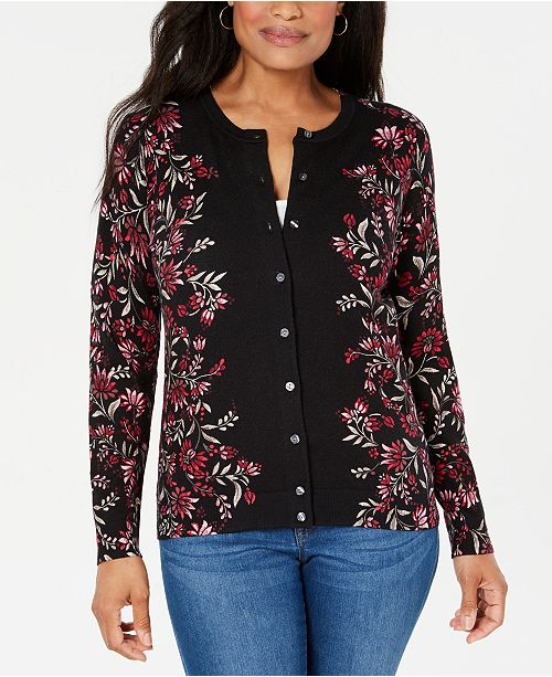 Karen Scott Floral-Print Button-Up Cardigan, Created for Macy's