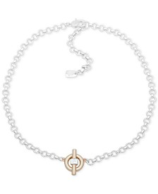 "Lauren Ralph Lauren Two-Tone Circle & Bar Pendant Necklace, 16"" + 3"" extender"