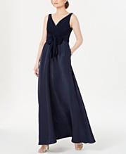 a956837efcc3 Adrianna Papell V-Neck Tie-Waist Gown