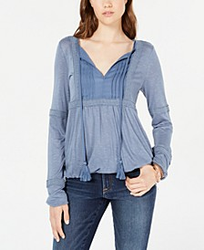 Juniors' Pintuck & Crochet Peasant Top, Created for Macy's