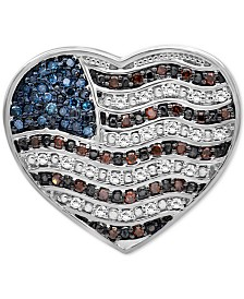 Diamond Flag Heart Pin (1/4 ct. t.w.) in Sterling Silver