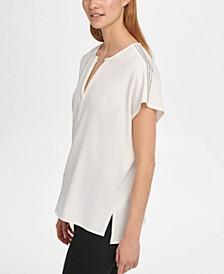 Embellished-Shoulder V-Neck Top