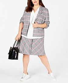 Trendy Plus Size Plaid Jacket, Pleated Top & Skirt, Created for Macy's