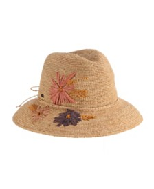 Scala Crochet Raffia Safari Hat with Embroidery