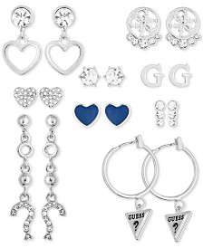 GUESS Silver-Tone 9-Pc. Set Crystal Earrings