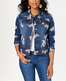 Style & Co Petite Floral-Print Denim Jacket, Created for Macy's