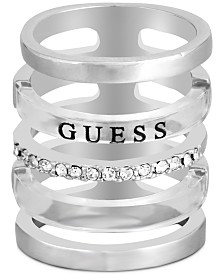 GUESS Silver-Tone Pavé Multi-Row Wide Ring