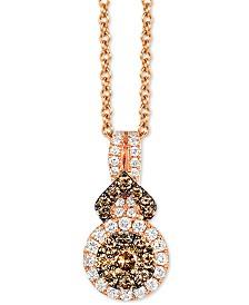 "Le Vian ® Geometric Pendant Necklace (3/8 ct. t.w.) 18"" in 14k Rose Gold"